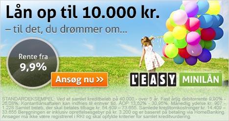 Lån op til 10.000 kr. med lav rente hos Leasy Minilån. Se mere her.