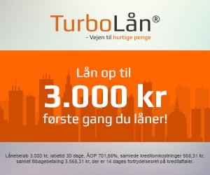TurboLån tilbyder lån fra 100 til 10.000 kroner i op til maksimalt 30 dage